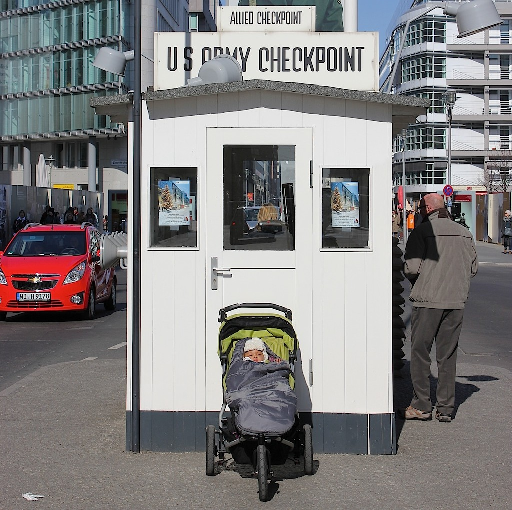 Mari in Berlin at Checkpoint Charlie